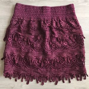 Maroon Lace Fitted Mini Skirt